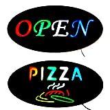 2 tlg. Modernes XXL LED Display Schilder Set OPEN & PIZZA Reklame Werbung Leuchtschild Leuchtreklame Werbeschild im neuen Design