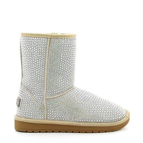 Ideal Shoes, Damen Stiefel & Stiefeletten Weiß - Silber