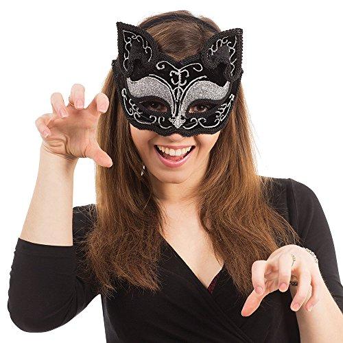 Bristol Novelty em365Katze Dekorative Eye Maske auf, Kopfband, Schwarz, One - Maskerade Maske Katze Schwarze