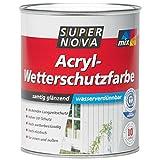 SUPER NOVA Acryl-Wetterschutzfarbe, Samtig glänzend , für innen und außen ,Farbton Wählbar 2,5 Liter ., Farbe:Schwedenrot