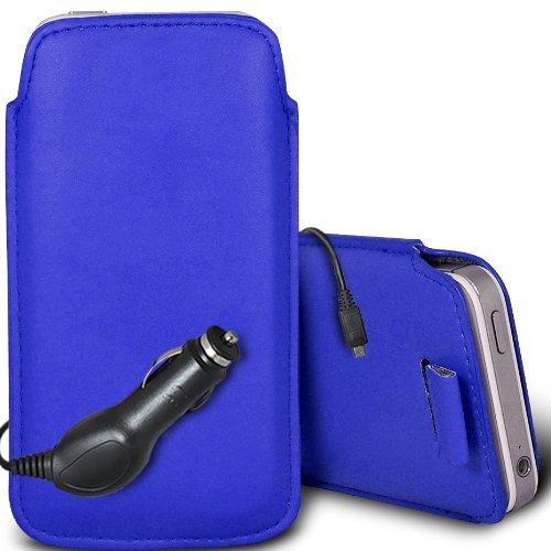 Brun/Brown - Samsung Galaxy V Plus Housse deuxième peau et étui de protection en cuir PU de qualité supérieure à cordon avec stylet tactile par Gadget Giant® Bleu/Blue & Car Charger