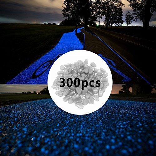 Pierres luminescentes 300pcs Galets pour bassins de jardin, d'extérieur brillent dans le noir Gravier pour aquarium, Décorations de jardin lumineuses, Galets lumineux, Larges pierres lumineuses pour aquarium, Blanc/bleu