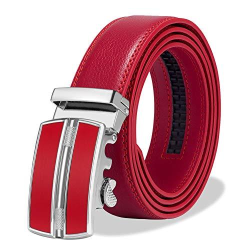 ITIEZY Automatik Gürtel Herren Designer Lederguertel Schnalle Herren, Rot 2, Länge: Bis zu 49,2 inches(125cm) -