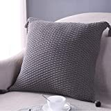 Stricken Baumwolle Überwurf Kissenbezug, Schutzhülle mit Quaste 45x 45cm Square dunkelgrau