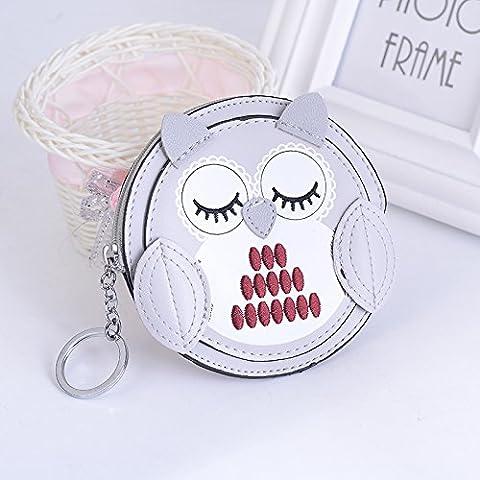 MZP Handmade Sewing Leather Owl Keychain Zero Portfolio Keypack Fashion Bag Fashion Bag Pendant , grey owl