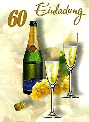 Einladungskarten 60. Geburtstag Frau Mann mit Innentext Motiv Champagner 10 Klappkarten DIN A6 im Hochformat mit weißen Umschlägen im Set Geburtstagskarten Einladung 60 Geburtstag Mann Frau K202 (Party-einladungen Geburtstag 60.)