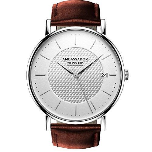 Ambassador Heritage 1921Silber Fall mit Braun Lederband Herren-Armbanduhr