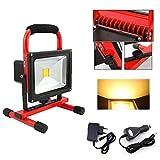 Hengda® 30W LED Akku Strahler Camping Handlampe Warmweiß Arbeitsleuchte Baustrahler Fluter IP65, Rot