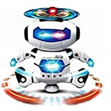 ANG Dancing Naughty Robot with 3D Flashing Lights & Music for Kids, Battery Operated, Multi Color (360 Degree Dancing Smart Robot) with 1 Barbie Color Book + 1 Spider Man Color Book