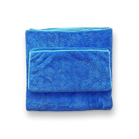 Hugooo Serviette pour Chien Set 140 X 70cm & 75 X 35cm Super Absorbante et Quick Dry Microfibres Pet Dog Peignoir Grand Robes Serviette Manteau Premium Quality Convient aussi Cat Dog Chaud Blanket Seat Cover Couverture de Lit - Bleu