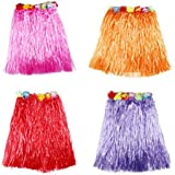 TOYMYTOY Hawaiian Dance Skirts 40cm Length Luau Hula Skirts For Kids, Beach Campfire Party Supplies - Set Of 4 Pieces (Purple, Rose Red, Red, Orange)