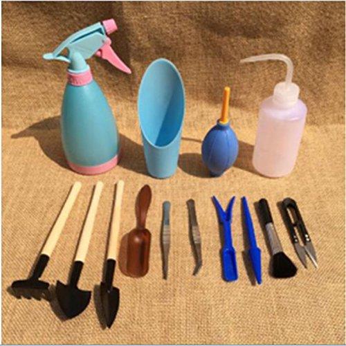 14Pcs Mini Gartenarbeit Handwerkzeuge Set Sukkulenten Pflanzen Bewässerung Flaschen Verpflanzung Miniature Fairy Garten Pflanzung Hand Tools Set Include Pruner, Mini Rake, Wasser Flasche und Schaufeln