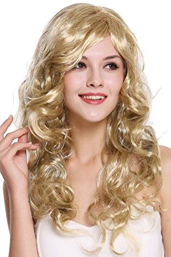 WIG ME UP - DEC37-ZA89 Perücke Damen Karneval Fasching lang blond hellblond wellig lockig sexy Seiten-Scheitel 65 cm (Damen-perücke Lange)