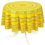 Vent du Sud 160ecbarbeb Tischdecke, beschichtet, Acrylbeschichtung/Behandlung Alix/Baumwolle, Baumwolle, honig, 160 x 160 cm