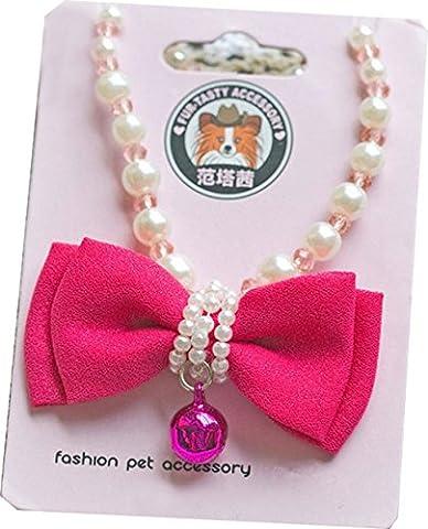 ptolusque/Baustelle/winlink verstellbar Pet Hund Welpe Schleife Jingle Bell Halskette Perle Schmetterling Knoten Bell Halsband Pet Zubehör Schmuck für kleine Hunde