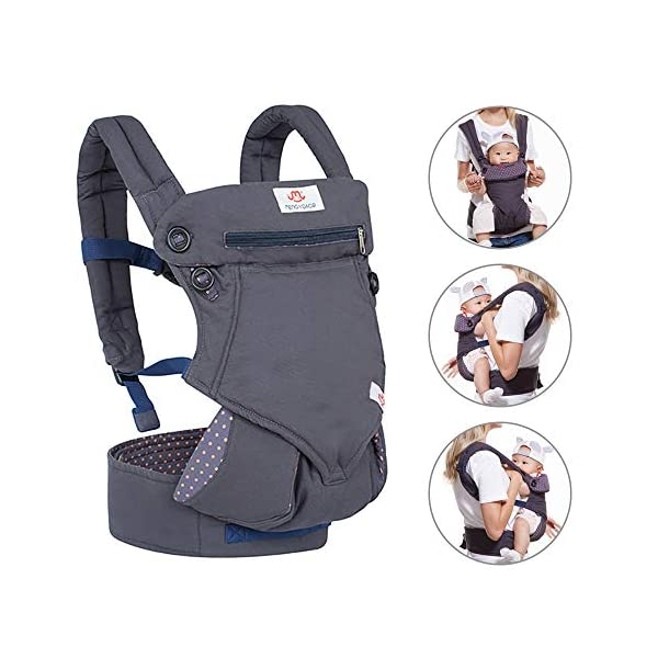"NEWSTYLE Baby Carrier Slings for Toddler,Safety Baby Front Back Carrier Infant Backpack Wrap,Premium Cotton Baby Carrier,Ergonomic All Position Baby Backpack for Newborn Infants Toddlers (Navy Blue)  ❤ Safe Material: Soft cotton 100%.Breathable fabric keeps baby skin dry.fast-drying,not fade,not sticky with wool. ❤ Ergonomic Design: Easy to adjust seat supports your baby in an ergonomic natural ""M"" position in all carry positions from baby to toddler.ensure baby's hips and legs are positioned correctly and comfortably. ❤Also Thoughtful Enough for You: Collapsible hood for wind and sun protection,Machine Washable, Lightweight, Foldable, Wide and thick backpack straps help relieve stress . Easy to put on or take off.all details are custom just for you. 1"