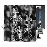 Harson&Jane Giraffen-Familie Digitaldruck -wasserdichten Duschvorhang Größe 180*180 180*200 (180*180)