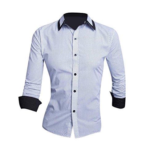 Jeansian Hommes Chemise Manches Longues Des Affaires Slim Fit Trend Fashion Mens Shirt 8655 white