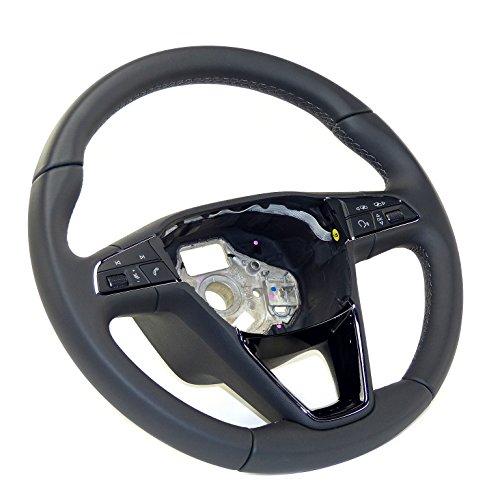 Seat Lenkrad Leder Lederlenkrad für Multifunktionsanzeige, schwarz mit grauer Naht