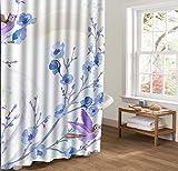 ALSTONXIN Bunte Vögel auf Baumasten Duschvorhänge Anti-Schimmel Duschvorhang Home Bad Vorhänge Blaues Blumen Lila 36
