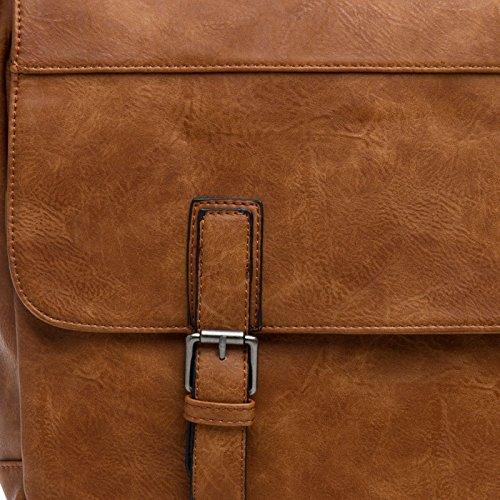 e4aaa46a06f56 CASPAR TS1044 robuste Vintage Umhängetasche   Messenger Bag Cognac ...