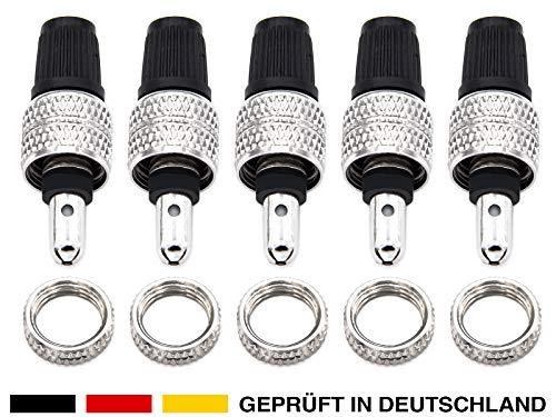 ANYKING 20-Teile Fahrradventil-Ersatz komplett-Set: 5X Fahrrad-Ventil Dunlop Blitz-Ventil Einsatz + Felgen + Überwurf-Mutter + Ventilkappen, auch für Puky, Standard Normal-Ventil NV DV BV Ventile