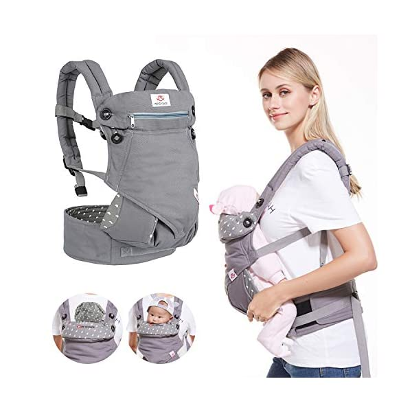 BelleStyle Baby Carrier - Adjustable & Breathable Baby Carrier Sling - Cotton Comfort Ergonomic Front and Backpack Baby Carriers for Newborns, Infants & Toddlers (3.5 to 20 kg), Dark Grey  ★All Seasons in One: Made of skin-friendly 100% cotton fabric, with a good breathable performance, comfortable and suitable for any season, one carrier fits different weathers. Lightweight and easy to bring on the go. ★Safe and Secure: Adopt the back strap and two-fold drop-proof fastener to prevent the shoulder strap from slipping off the shoulder, offering your baby a better protection. The foldable backplate assists in protecting your baby's head and neck. ★Ergonomic Design: Helps disperses baby's weight, plus, with the widened and thickened shoulder strap that can relieve mother's shoulder pressure, it makes mommy/daddy more comfortable and relaxed. Plus, the C+M sitting posture helps to protect your baby's hip bone development without affecting its blood circulation and prevent O-legs. 1