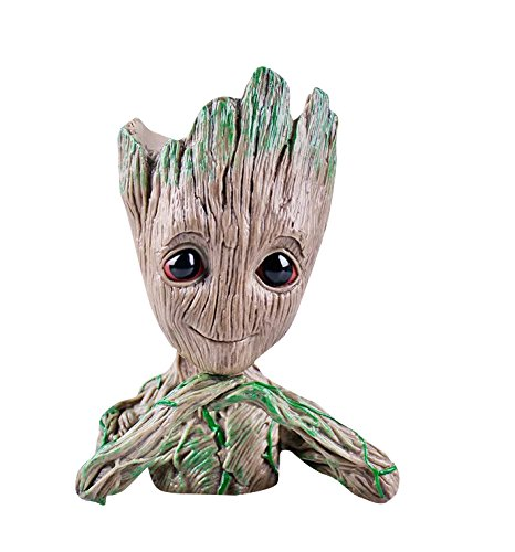 Baby Groot Maceta - Maravillosa Figura de acción de Guardians of The Galaxy para Plantas y bolígrafos - Perfecto como Regalo - Soy Groot (C)