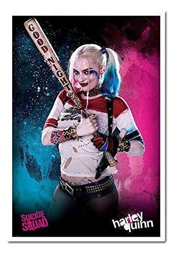 (Suicide Squad Harley Quinn Poster Kork Pinnwand Memoboard weiß gerahmt, 96,5x 66cm (ca. 96,5x 66cm))