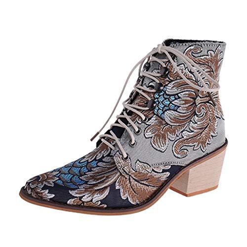SOMESUN Retro Stiefeletten Damenschuhe High Heels Stiefel Quadratische Fersen Blockabsatz Stoff Stickstiefel Schnürstiefel Spitzschuhe Halbschaft Stiefel