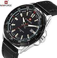 Naviforce Men's Black Dial Genuine Leather Analogue Classic Watch - NF905