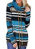 Damen Pulli Pullover Elegant Kapuzenpullover Hoodie Casual Sweatshirt Rollkragen Buntes Gestreiftes Loose(cb,m)