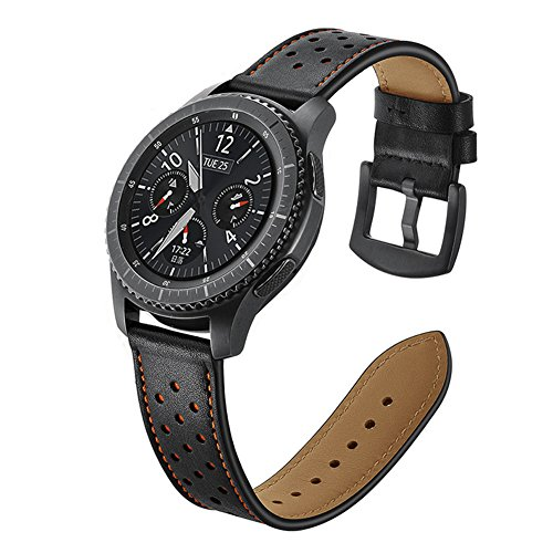Armband Samsung Galaxy S3 Frontier Leder Schwarz Armbänder 22mm Herren Uhrenarmband Smartwatch Zubehör Ersatzarmbänder Strap mit Edelstahl Metall Schließe Adapter für Samsung Gear S3 Classic/Frontier