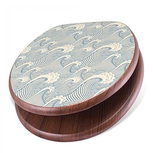 BANJADO Design Toilettensitz mit Absenkautomatik, WC-Sitz Holz, Klodeckel mit Metall Scharnieren, Toilettendeckel mit Motiv Blaue Wellen