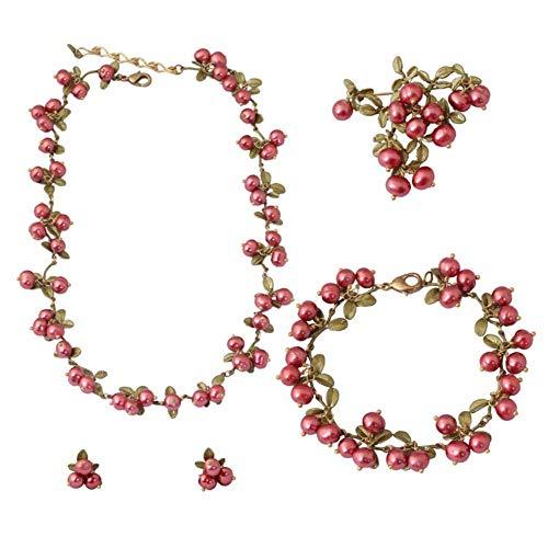 Ohrringe Ketten Broschen Ohrclips Armbänder Cranberry Anzüge Natürliche Perlen Lack Retro Obst Blätter Weiblich Ornamente Design Fashion Delikatesse Eleganz, Vier Farben