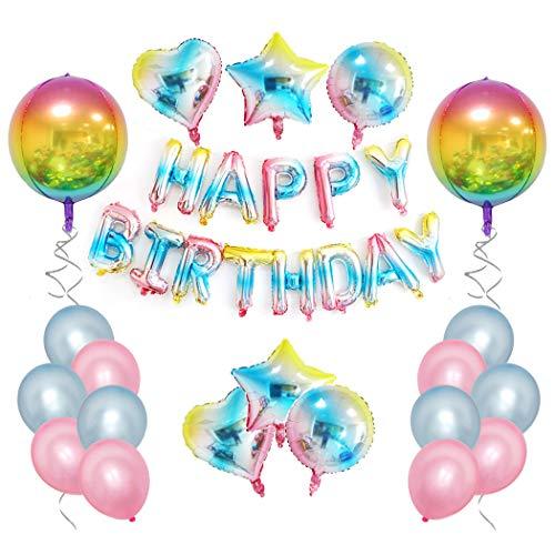 CozofLuv Geburtstagsdeko, Kindergeburtstag Deko Set 33 Stück Dekoration Zubehör Happy Birthday Girlande für Mädchen Jungen Männer und Frauen Farbverlauf Mehrfarbig