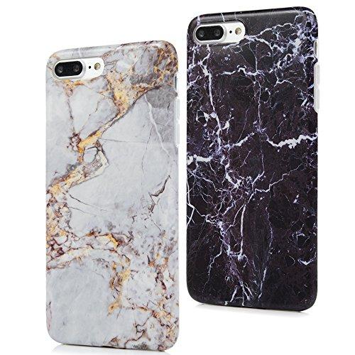 iphone 7 Plus Custodia Silicone Marmo Morbido Gel Gomma - YOKIRIN TPU Case Ultra Sottile Flessibile Per iPhone 7 Plus - Nero + Marrone Nero Giallo Nero + Grigio