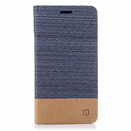 EKINHUI Case Cover Gemischte Farben Segeltuch Jeans Tuch Textur PU Leder weich TPU Rückseitige Abdeckung mit Kickstand und Kartensteckplätzen für Asus ZenFone 4 MAX ZC554KL ( Color : White ) Gray