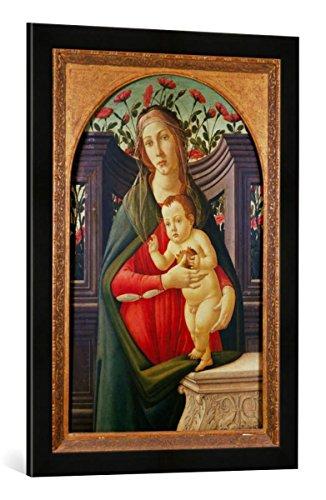 Gerahmtes Bild von Sandro Botticelli Madonna mit Kind in einer mit Rosen dekorierten Nische, Kunstdruck im hochwertigen handgefertigten Bilder-Rahmen, 50x70 cm, Schwarz matt (Madonna Botticelli)