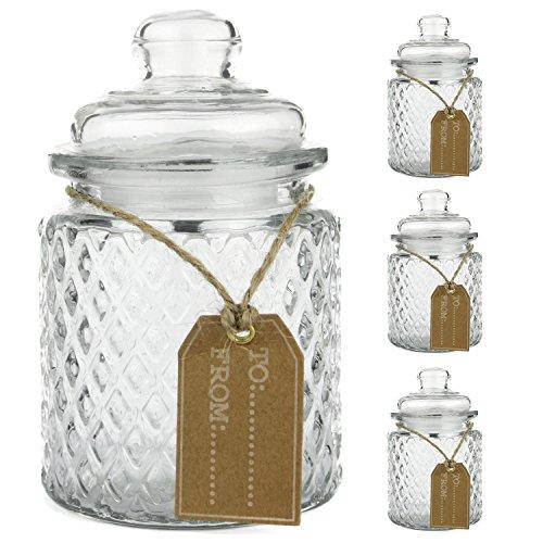 3er Set Zuckerdose + Deckel Vorratsglas mit Schild / Etikett Gewürzdose Streudose Bonboniere