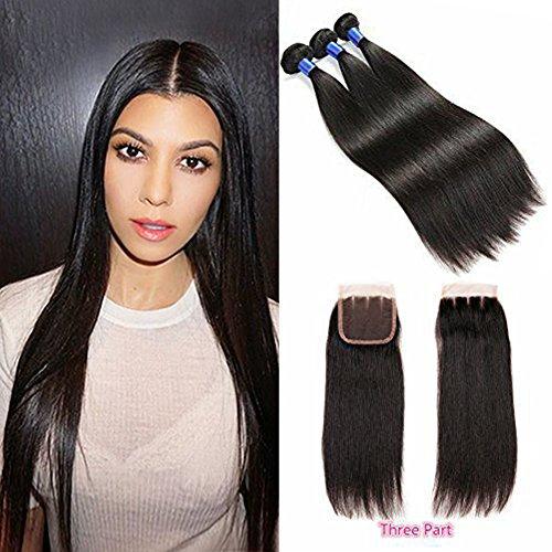 Hanne brésilien Cheveux raides avec fermeture 7 A brésiliens vierges Cheveux 3 trames avec fermeture 3 supplémentaire