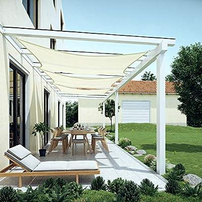 SONGMICS Sonnensegel aus HDPE, Sonnenschutz, UV-Schutz, luftdurchlässig, für Garten, Balkon, Terrasse, atmungsaktiv, wasserdurchlässig, Rechteck, in verschiedenen Größen, inkl. Befestigungsseile von SONGMICS auf Gartenmöbel von Du und Dein Garten