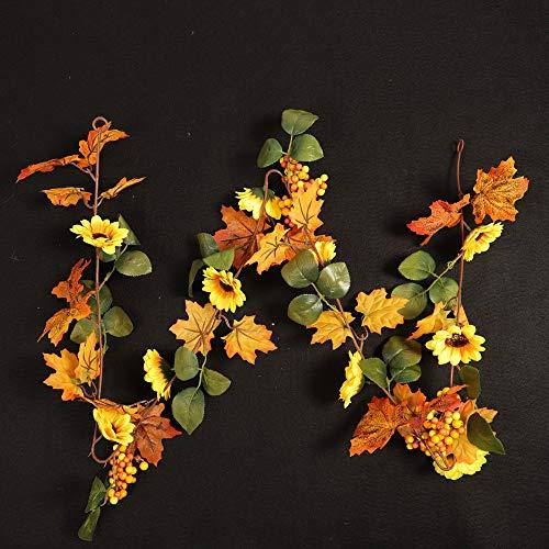 Light Post TAOtTAO Halloween 1.8M LED beleuchtet Herbst Herbst Kürbis Ahorn Blätter Garland Decor