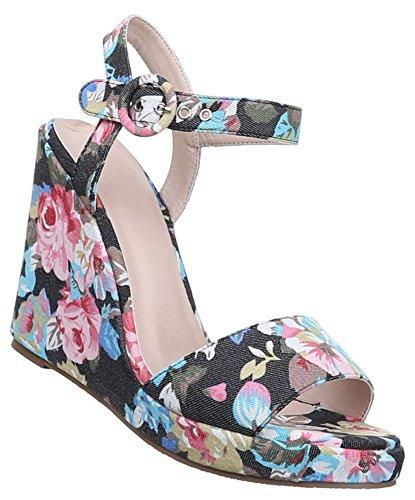Damen Sandaletten Schuhe Keilabsatz Wedges Pumps Schwarz pink weiss bunt 36 37 38 39 40 41 Schwarz Multi