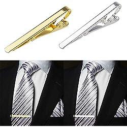Contever® 2 PC Alfileres de Corbata Tie clip Pasador Clip de Hombre ( Dorado + Plata)