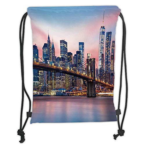 WTZYXS Drawstring Sack Backpacks Bags,New York,Brooklyn Bridge and Lower Manhattan Skyline Under Pink Sunrise Long Exposure Art Image,Blue Soft Satinring Closure,5 Liter Capacity. (Popcorn Brooklyn)