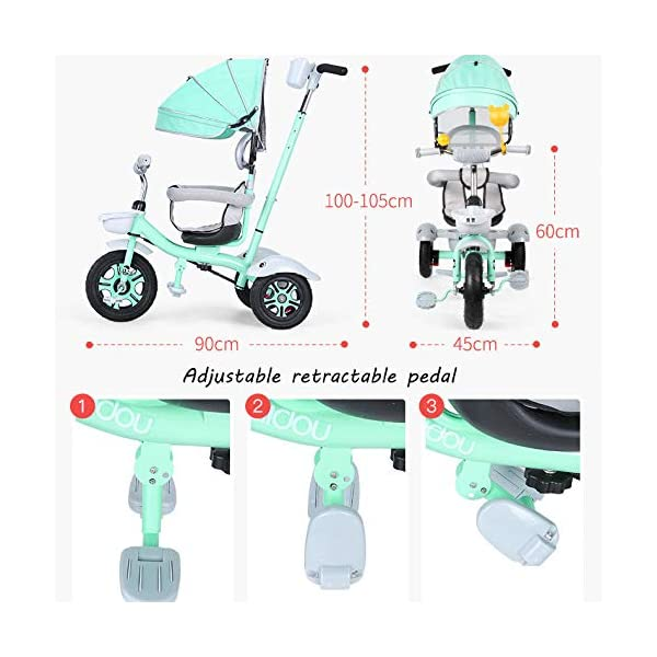 BGHKFF 3 In 1 Childrens Tricycles 1.5 To 5 Years 360° Swivelling Saddle Folding Sun Canopy Children's Pedal Tricycle Adjustable Handle Bar Blockable Rear Wheels Child Trike Maximum Weight 50 Kg,Cyan BGHKFF ★Material: High carbon steel frame, suitable for children aged 1.5-5, maximum weight 50 kg ★ 3-in-1 multi-function: convertible into stroller and tricycle. Remove the hand putter and awning, and the guardrail as a tricycle. ★Safety design: golden triangle structure, safe and stable; guardrail; rear wheel double brake 4