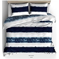 Aminata Kids - Wende-Bettwäsche-Set 135-x-200 cm Streifen-Motiv gestreift-e 100-% Baumwolle Renforce Weiss-e dunkel-blau-e Marine
