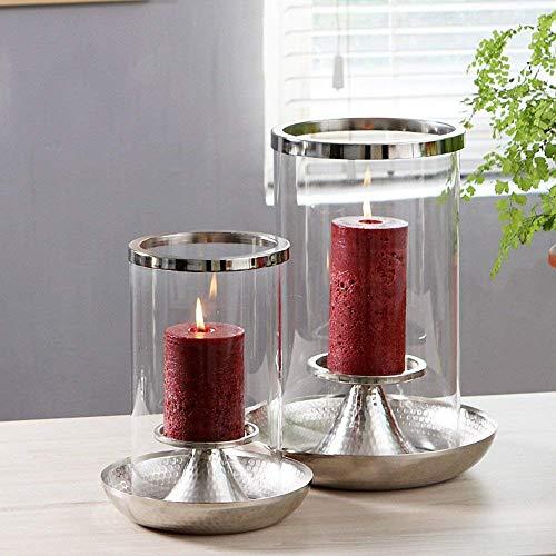 XQY Retro Kerzenständer Dekoration Kerzenhalter Eisen und Glas Material Winddicht Romantische Mode Haushaltsgegenstände Zwei Farbe Optional Zwei Größen,B (26 * 34cm),Silber