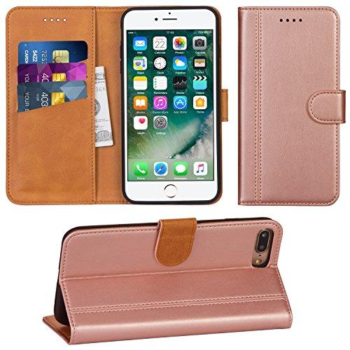 Adicase iPhone 7 Plus Hülle Leder Wallet Tasche Flip Case Handyhülle Schutzhülle für Apple iPhone 7 Plus / 8 Plus 5,5 Zoll (Rose Gold)